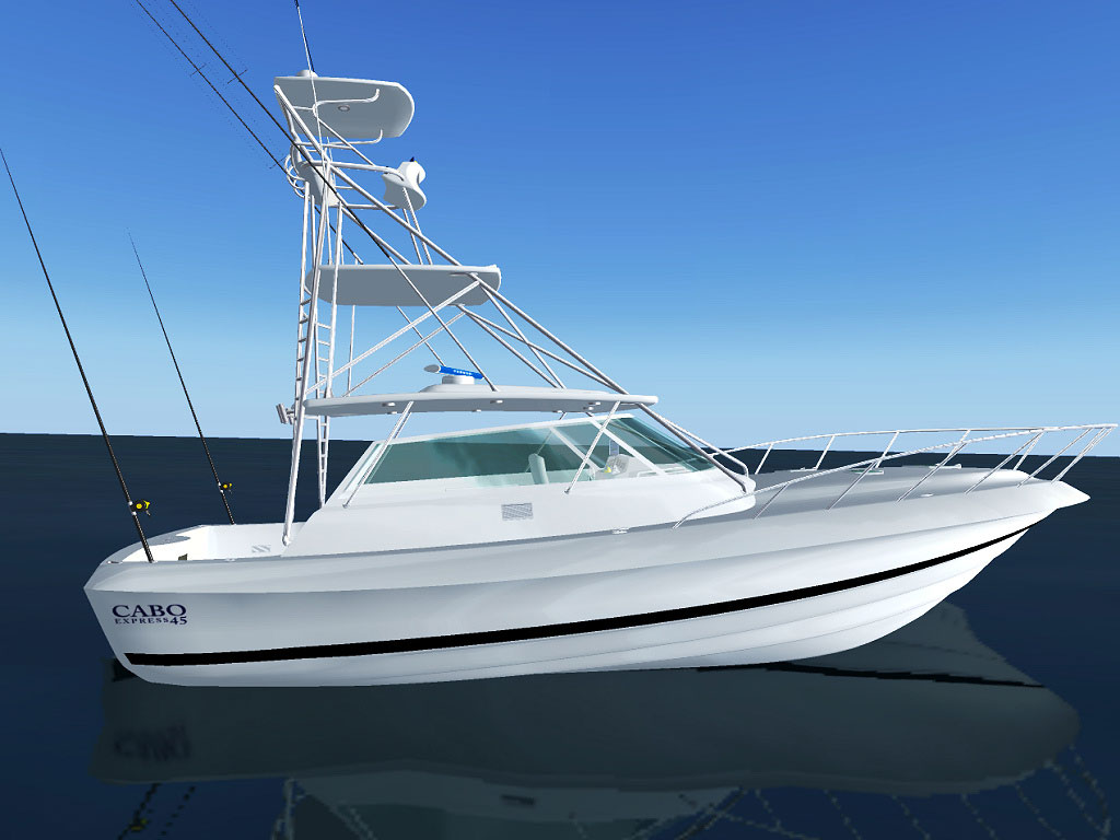 Cabo 45 Express Fishing Yacht for FSX - FSX Boats & Watercraft