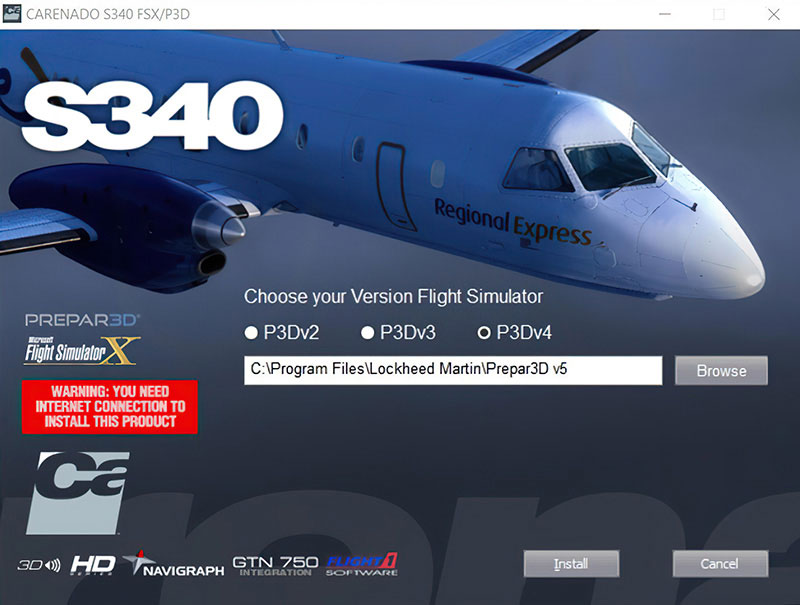 Screenshot showing Carenado P3Dv4 installer being used in v5.