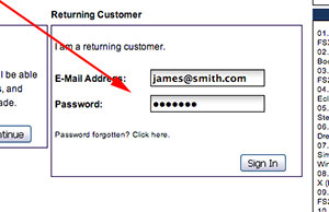 Returning customer sign-in