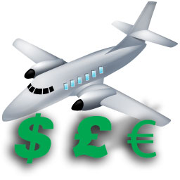 Sell Add-ons aircraft icon with currency symbols